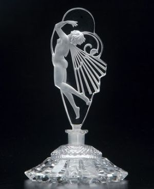 CZECH Perfume bottle in clear and frosted crystal, with nude stopper, 1920s.