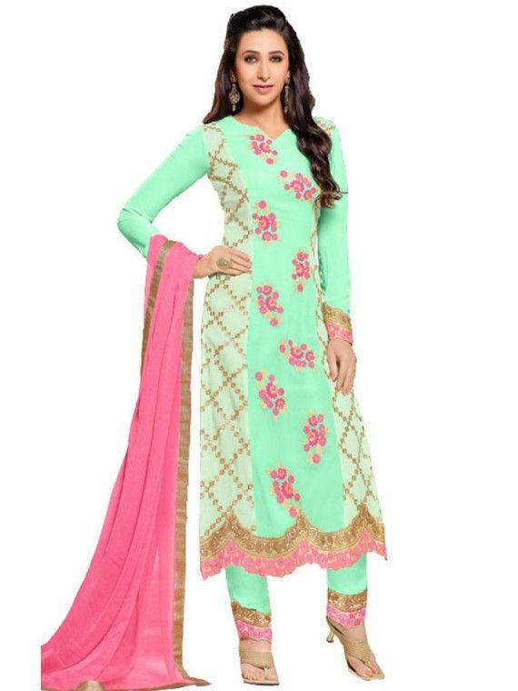 Eye Catchy Light Mint Green Karishma Kapoor salwaar suit