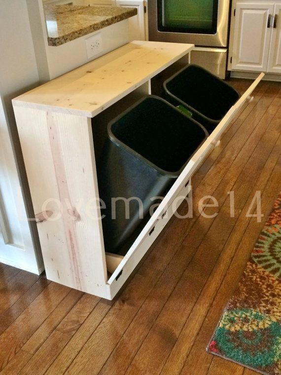 Double Tilt Trash Bin Recycle Bins Rustic Tilt Out By Lovemade14 Homemade Furniture Trash Bins Trash Can Cabinet