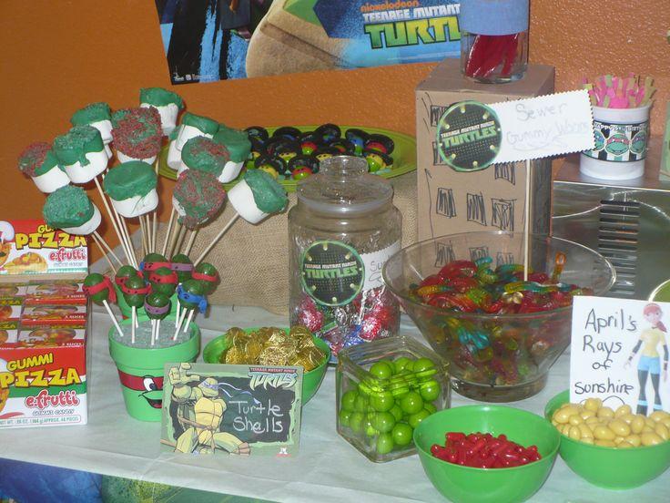 Teenage Mutant Ninja Turtle Birthday Party Candy Buffet.