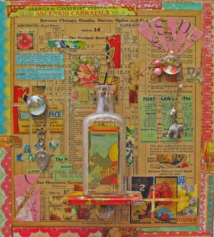 """9 x 10 inch wood base. You never know what you might find in these collages -- this one's composed of old images, newsprint, a 1930's seed catalog, an old game piece, a cook book, and pieces from vintage labels.  Glass-topped pegs hold small charms from my """"found treasures"""" trove.  Covered in several coats of glaze. The bottle can hold any small dried arrangement -- I've used twigs because I'm partial to them.  It sets on a tiny shelf, supported by a decoupaged peg."""