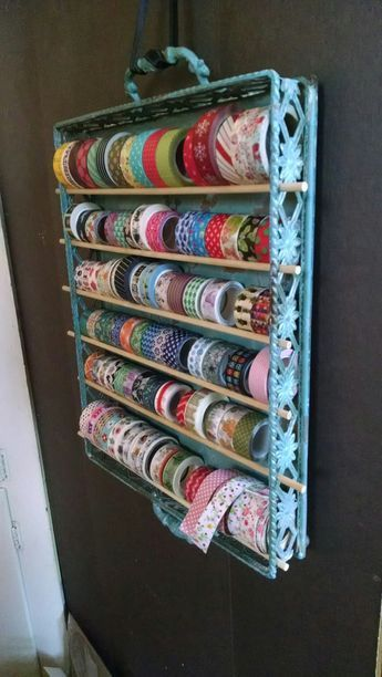 25 +> Simple and pretty washi tape storage. Metal tray from Hobby Lobby. Wooden dowels for …