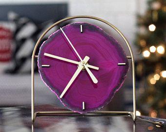 Agate Clock,Modern Pink Boho Agate Clock,Desk Clock,Modern Clock,Agate Desk Clock,Boho Decor,Clock,Gift for Her,Gift for Him,Agate Decor