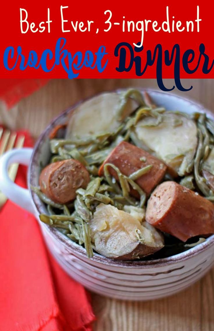 3-ingredients, no fuss and dinner's done! One of the best ~ and easiest ~ Crockpot dinner recipes. #crockpotrecipes #crockpotmeals #crockpotrecipeseasy #slowcookerrecipes #sausagerecipes #dinnerrecipes #dinnerideas #dinner #supperideas #supperideaseasy #easydinnerrecipes #easydinnerrecipesforfamily #easydinner #familydinnerrecipes #familydinnerideas #dinnerrecipeseasy #dinnerideas #dinnerrecipes