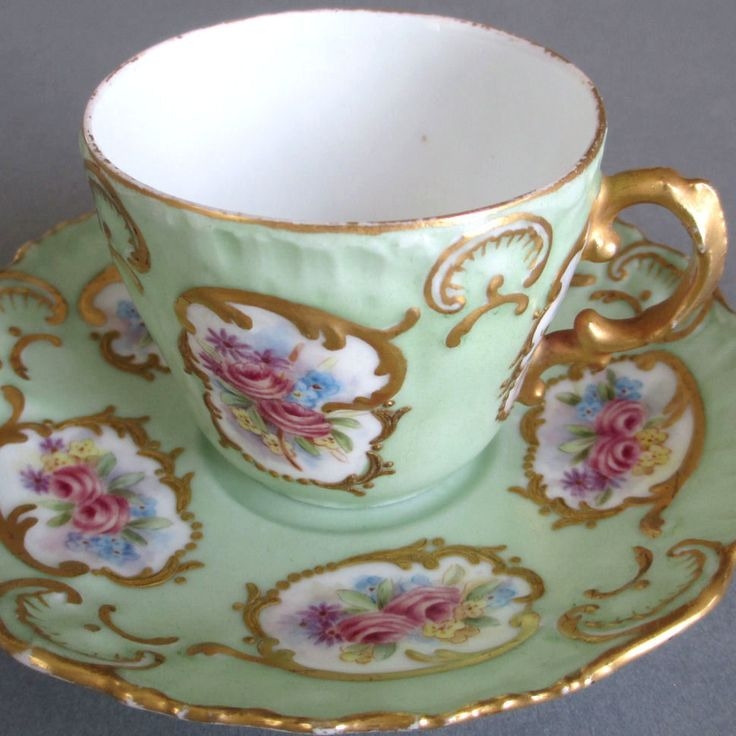 LIMOGES Hand Painted Cup Saucer With PINK ROSE Medallions And GILT Trim