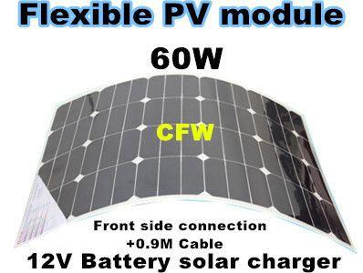 Гибкие солнечные панели 60 Вт 18 В с Лицевой Стороны Соединения и 0.9 М кабеля, заряд 12 В батареи.