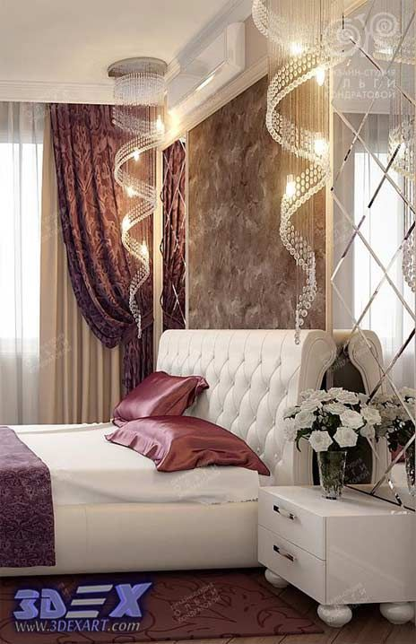 Art Deco Style, Modern Bedroom Decor And Furniture With Curtain  Drapies