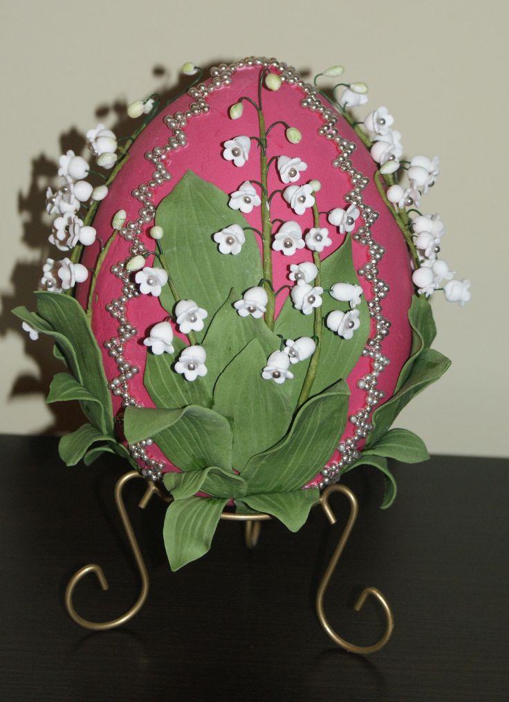 jajko Faberge, konwalie, lukier plastyczny, pisanka, Wielkanoc