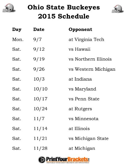 Printable Ohio State Buckeyes Football Schedule 2015