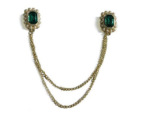 Brošňa dvojitá s retiazkou high style zelená. Double chain brooch. #womanology #jewelry #accessories #doublebrooch #chainbrooch
