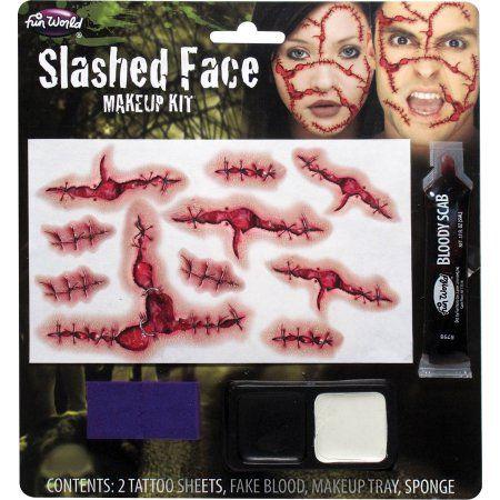 Slashed Face Makeup Kit Adult Halloween Accessory, Women's, Multicolor