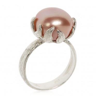 Anello in argento 925 con perla rosa coltivata d'acqua dolce