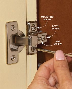 How to adjust euro hinges (maybe now I can get all my cabinet doors to fully shut!).