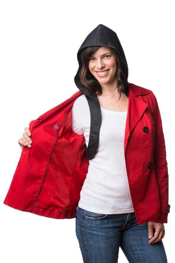Hood To Go worn under a raincoat.