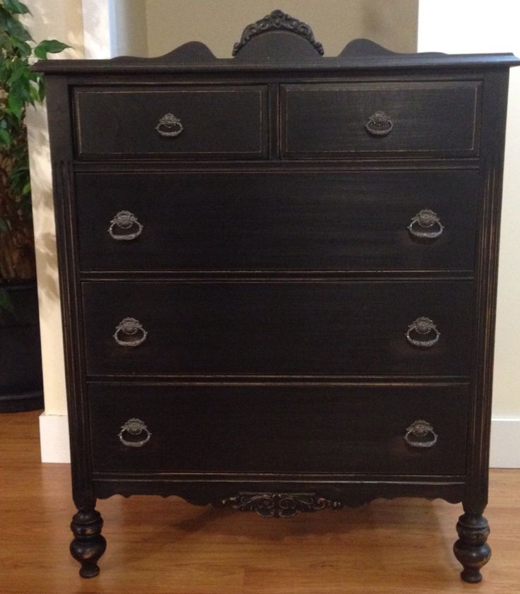 Best Solid Wood Antique Tall Boy Dresser Refinished In Black 640 x 480
