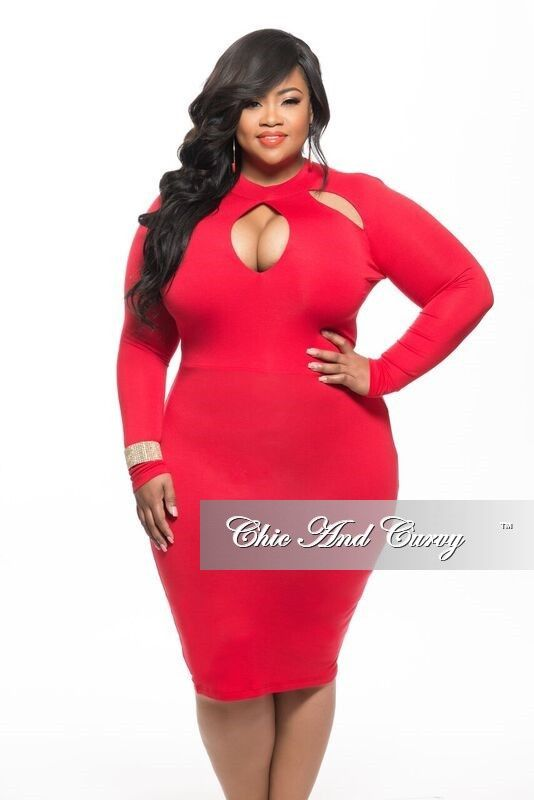 New Plus Size BodyCon Dress with Top Cutouts in Red – Chic And Curvy