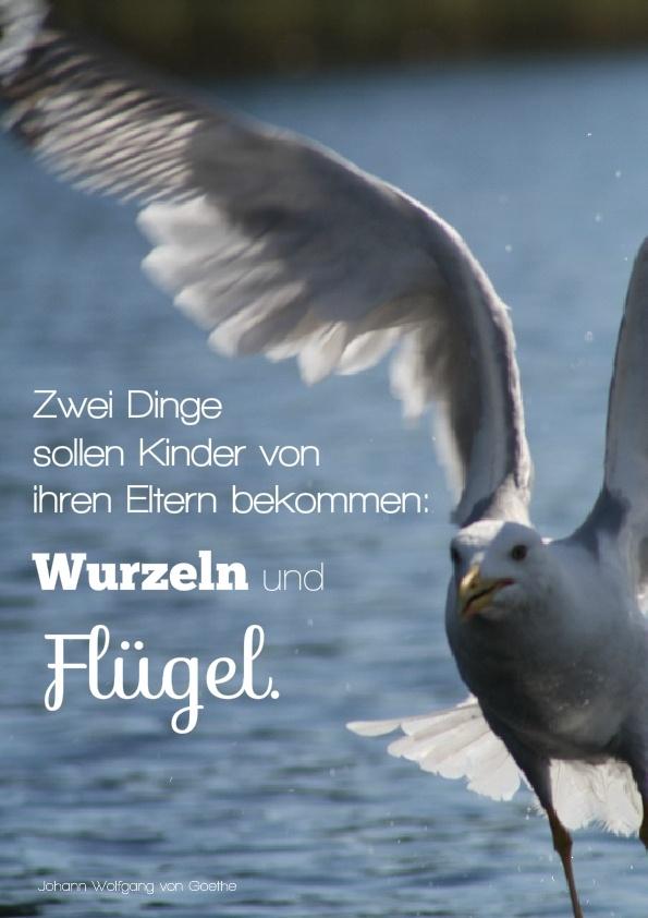 Zwei Dinge sollen Kinder von ihren Eltern bekommen: Wurzeln und Flügel  Zitat: Johann Wolfgang von Goethe