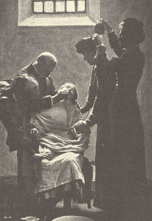 A suffragist on a hunger strike, being forcibly fed with a nasal tube London, ca. 1911.