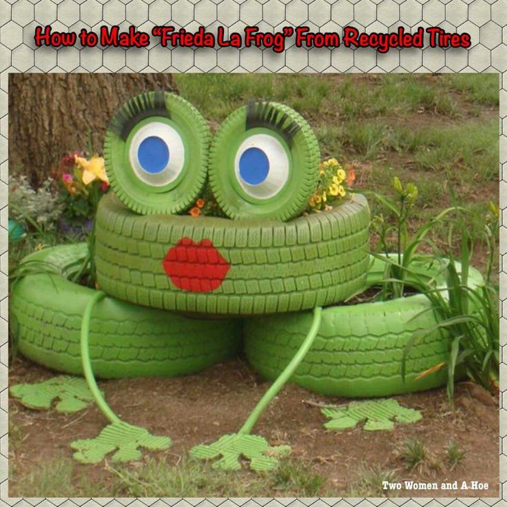 Freida la frog tire recycle pinterest discover more for Old tire art