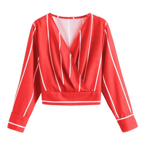 Crossed Front Stripes Blouse ($30) ❤ liked on Polyvore featuring tops, blouses, red striped top, red blouse, stripe blouse, cross front top and stripe top