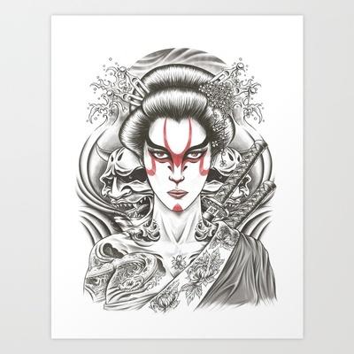 Geisha Art Print by Demones - $20.80