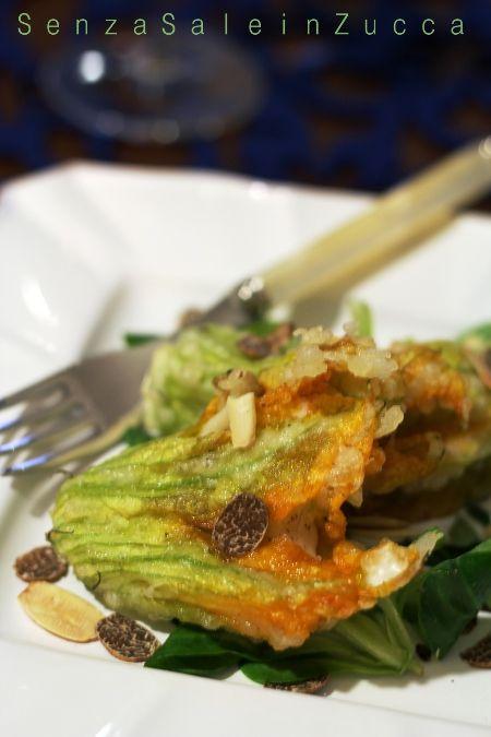 Fiori di zucchina fritti farciti con filetti di rombo al tartufo nero