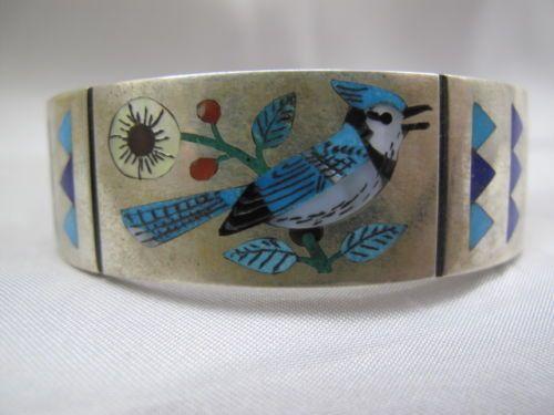 Zuni-Inlay-Bracelet-Sterling-Silver-Native-American-Inlay-BlueJay-Bracelet