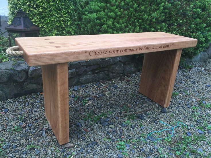 Personalised Irish Oak Bench with engraving of your choice on two sides & a secret message underneath.