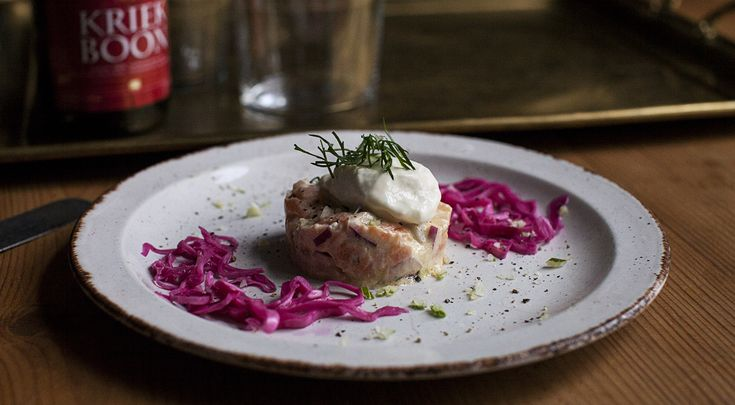 Smoked Salmon Tartare with Fennel Ice Cream - It sounds weird with fish and ice cream but trust me it's really good! #salmon #icecream #fennel #fish #tartare