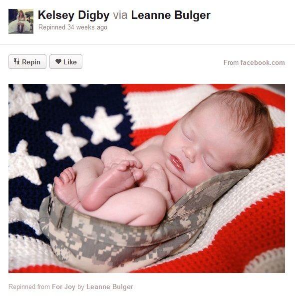 Baby Photography Idea Sleeping Military Cap Flag