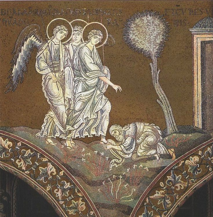 Abraham bends down before Holy Trinity (angelic visitors at Mamre) - mosaic in Monreale Cathedral
