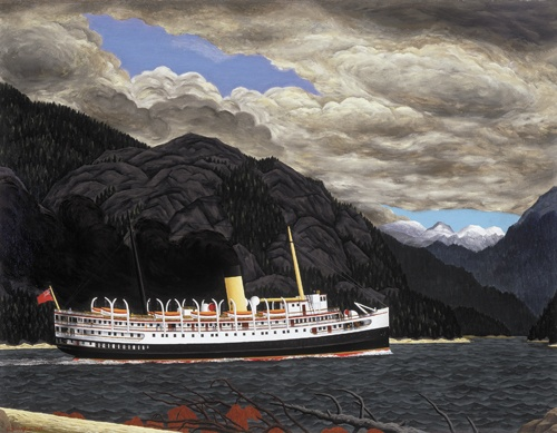 E.J. Hughes Works 1951-1952 - Steamer in Grenville Channel, B.C.