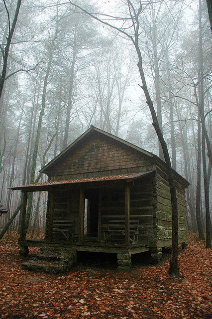 This is a  historical cabin on the Nature Trail on Green  Mountain in Huntsville, Alabama.