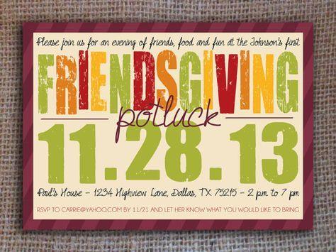 Thanksgiving / Friendsgiving / Potluck Invitation - Printable Digital File