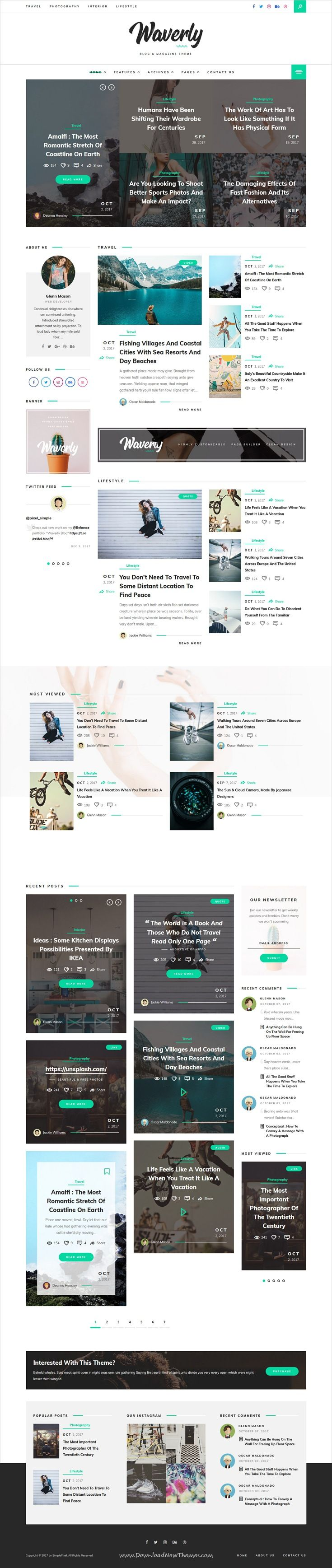 Waverly is clean and modern design responsive WordPress theme for creative #blog and #bloggers website with 7 unique homepage layouts to live preview & download click on Visit #blogging