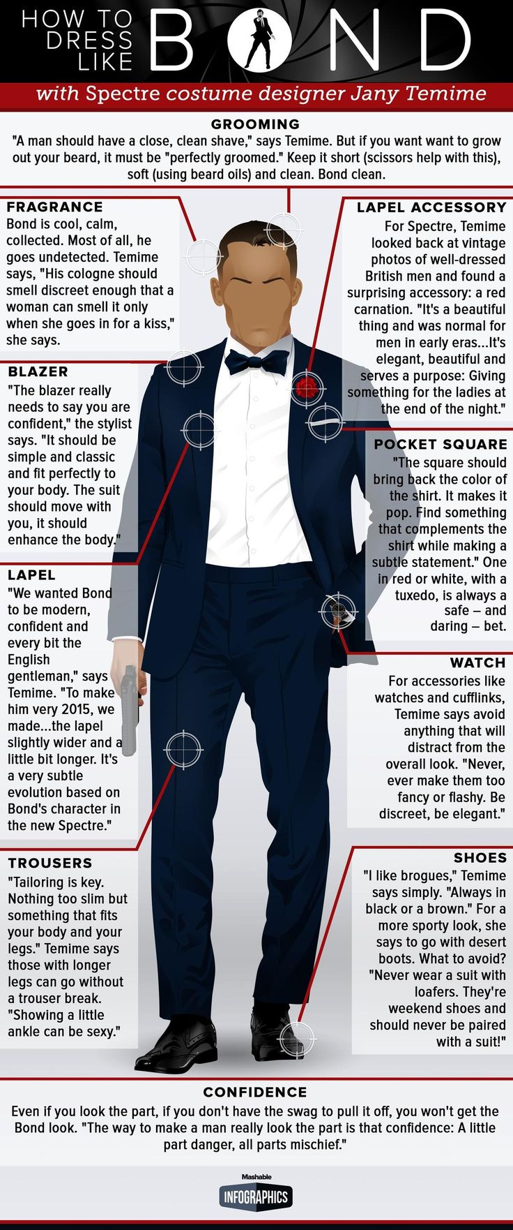 Here's how to pul off a suave, sophisticated James Bond suit #infografía