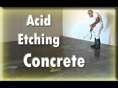 Applying Epoxy. First step acid etching the concrete. Part 1. - YouTube