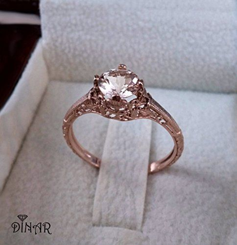 Vintage Morganite Engagement ring, 14k rose gold morganite lace ring, light Peach Pink Morganite , alternative engagement ring, promise ring