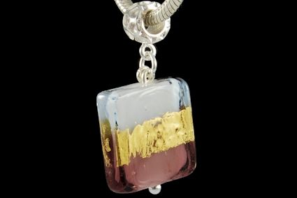 square shape, light blue and purple milky glass, with 24k gold foil. Dimension mm. 20.