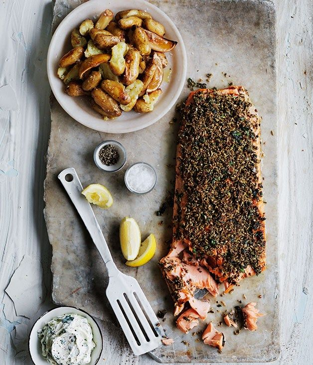 (Minus the side of potatoes) Fennel and dill-crusted ocean trout with lemon potatoes recipe | Gourmet Traveller recipe - Gourmet Traveller
