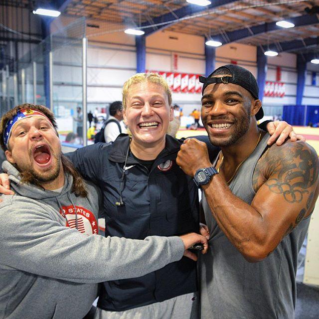 With two of my favorite wrestlers @jakeherbert84 @alliseeisgold!!! Their…