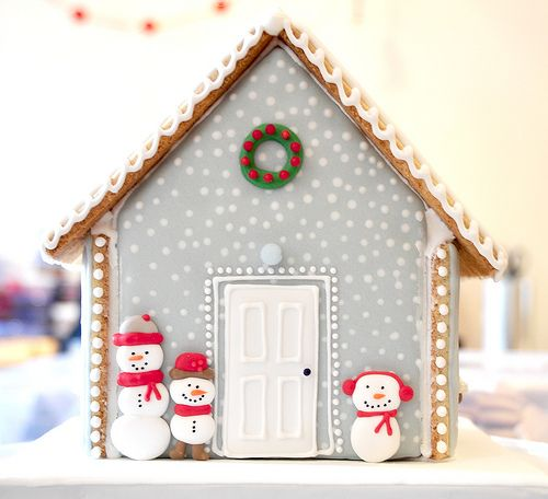 Gray Snowy Christmas Cookie Cottage with Snowmen - Maisonn… | Flickr