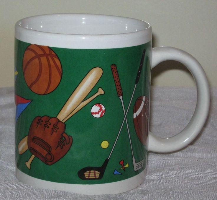 Sports Coffee Mug Cup 10oz Soccer Bowling Baseball Golf Football Hockey #DH76 #unbranded