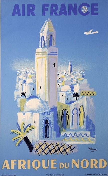 North Africa • Air France #travel#poster by Bernard Villemot 1949