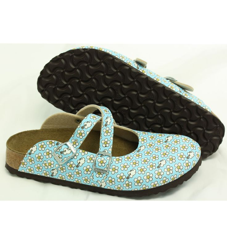 Birki S By Birkenstock Dorian Blue With Daisies Clogs
