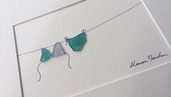 8 by 10 Sharon Nowlan sea glass bikini