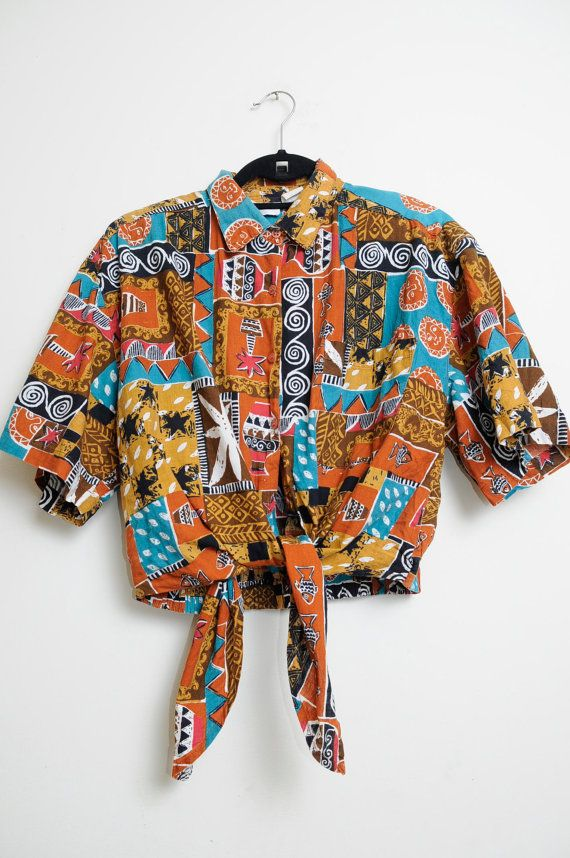 Vintage 80s/90s Jungle Tribal Aztec Funky by LipstickDinosaur, $20.00