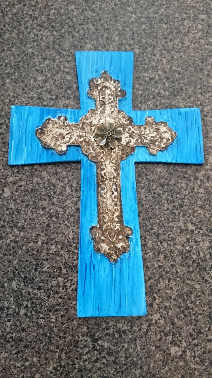 """Turquoise painted wood Cross with """"forged metal"""" looking layered cross. Made from clay & foil."""