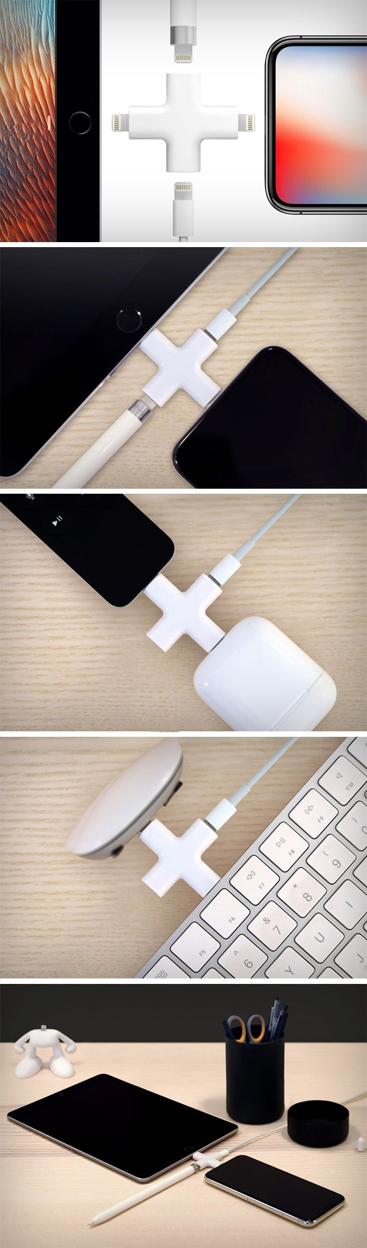 In the rare moment that you want to charge both your iPad Pro and your Apple Pencil at the same time, or your iPhone as well as your iPad and your Airpods, you'll thank the gods for giving you something like the Node. It saves you the need to find separate USB ports or plug-points. A single Node can be plugged into any two devices with the lightning port (your iPhone/Airpods/iPad/Magic-Mouse/Keyboard). BUY NOW! #iphoneairpods,