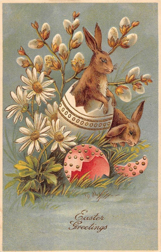Easter Greeting Two Bunnies Hatching From Decorated Eggs Antique Postcard V21483